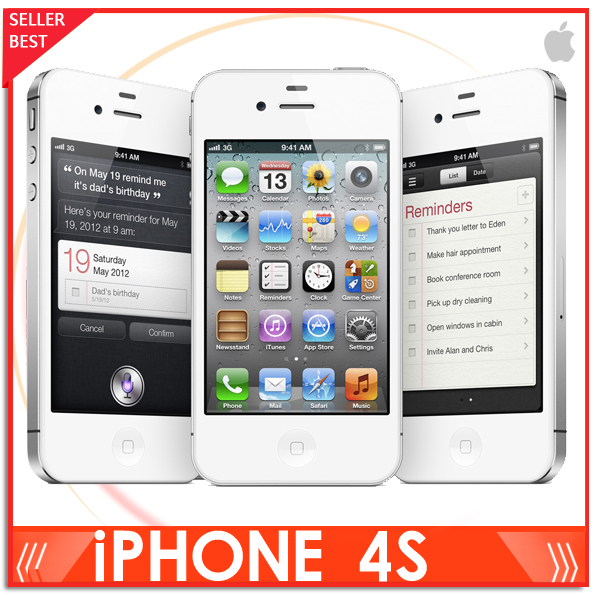 """Iphone 4S 100% Factory Unlocked Apple Iphone 4S Cell phone 3.5""""16GB/32GB/64GB 3G GPS 8MP in Sealed box(China (Mainland))"""