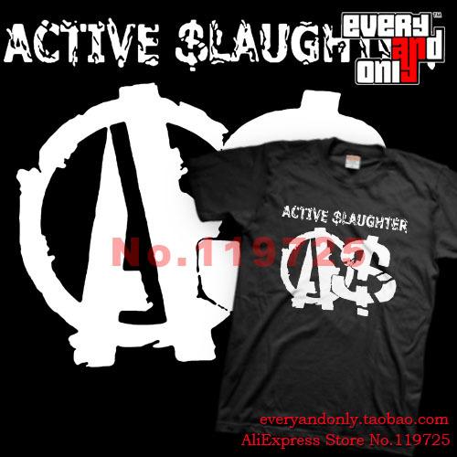 Active Slaughter Punk Band Logo Fashion Casual Loose Printing T-shirt Tee Clothing London United Kingdom(China (Mainland))