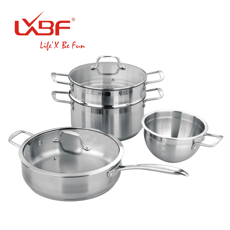Free Shipping Lxbf Piece Set Stainless Steel Cookware Pot Set Cooking Pots And Pans Set