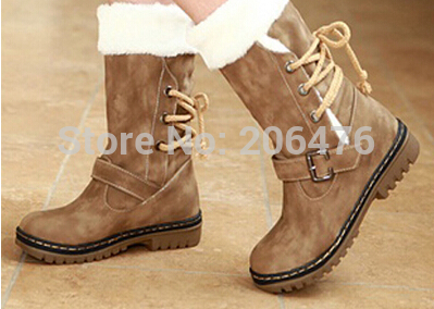 2014 New Arrivals Winter boots Women fashion Warm Fur Shoes Half Knee High Boots cotton Snow boots Motorcycle Autumn women boots