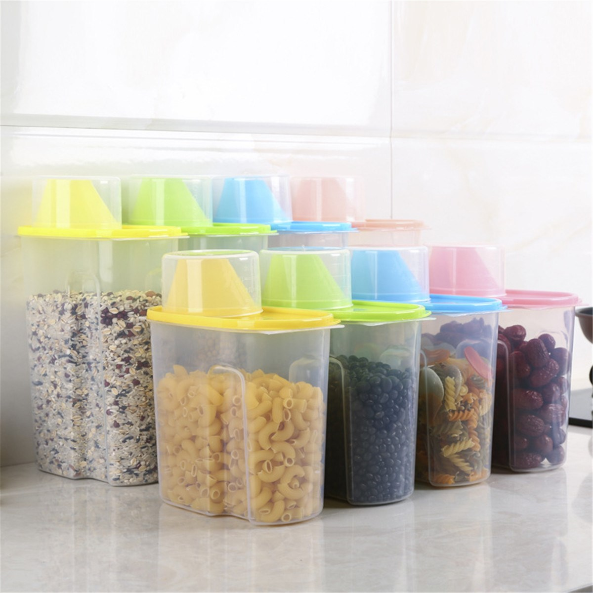 Multi Colors Plastic Kitchen Home Food Cereal Grain Bean Rice Storage Container Box Case Bin Household Storage Tools Accessories(China (Mainland))