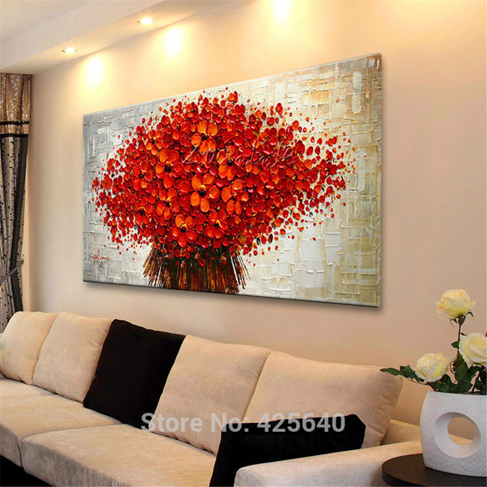 Wall Painting Flower Hand Painted Palette Knife 3d Texture