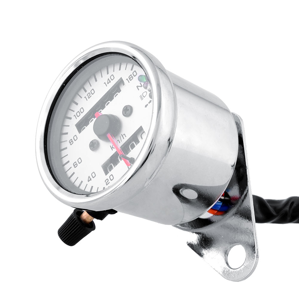 New Universal Motorcycle Dual Odometer Speedometer Gauge LED Backlight Signal Light 12V Repair White Car Accessories(China (Mainland))
