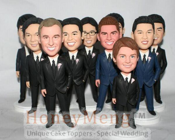 Personalized Wedding Decorations Cake Topper Gifts Idea Custom Made Bobbleheads for the Groomsmen Wedding Party Decorations (1 P(China (Mainland))