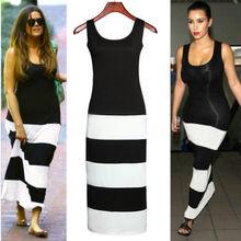 Черный белый монохромный полоса пр тонкий Bodycon бинты платье 2015 новинка Большой размер женской одежды Desigual платья макси L106