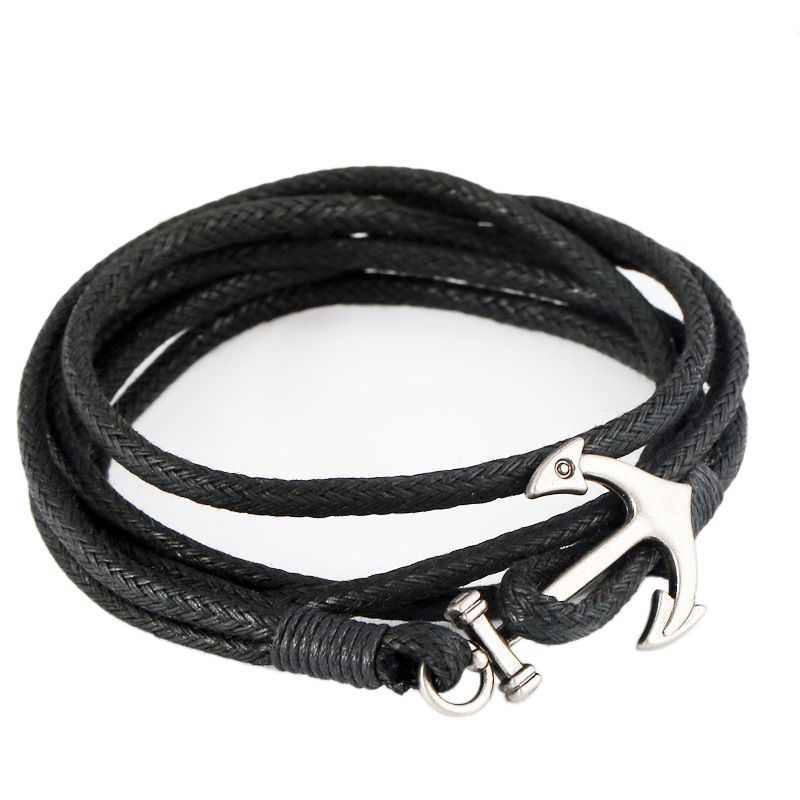 Wholesale Popular Waxed Cotton Cord Anchor Bracelet Multi-layer Rope Chain Bangles Punk Jewelry for Men and Women(China (Mainland))