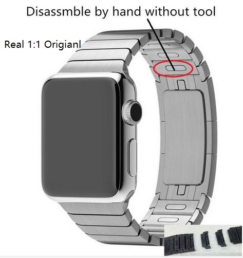 New Link Bracelet Stainless Steel Chain-Shaped Detachable Watchband Original Buckle For Apple Watch iwatch bands With 38mm 42mm(China (Mainland))