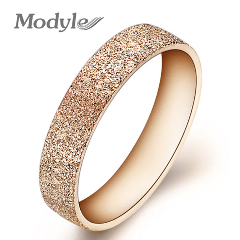 Fashion Jewelry High Quality 316L Stainless Steel Rings Rose Golden Dull Polish Single Ring Wedding Ring Engagement Ring(China (Mainland))