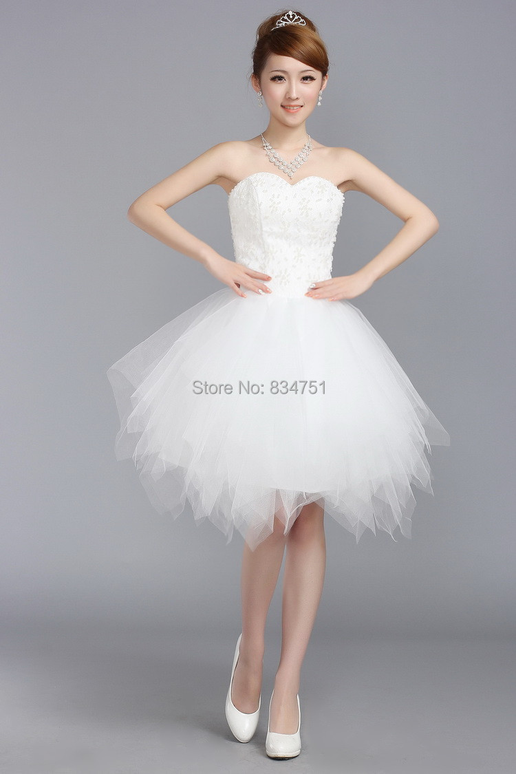 Short White Strapless Tutu Dress - Dress images