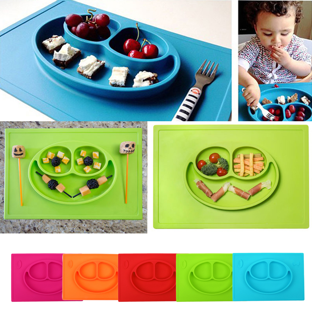 BPA Free Smile Silicone Baby PlaceMat Suction No Mess One Piece Baby Placemat Plate for Kids Ezpz Style Washable 3-Grid Dishes