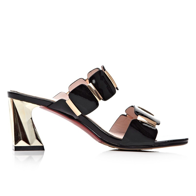 Leisure Sandals 2 Color Cow Leather Roman Style Summer Heel Woman Classic Sandals Wild Section Banquet Dating Nightclubs Shoes