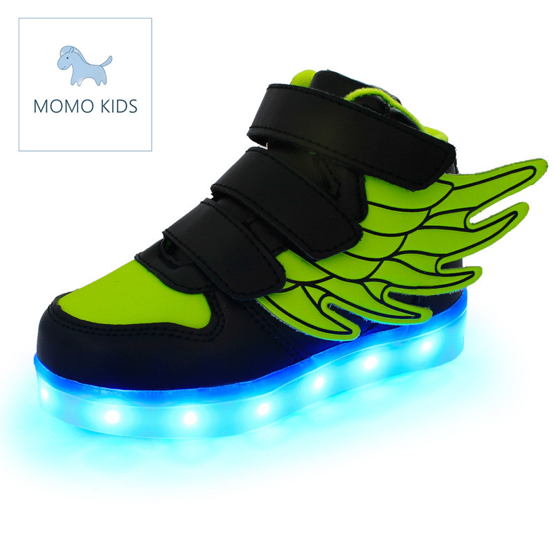 Children shoes with light LED light up USB charge Kids shoes for boys girls wings chaussure luminous enfant flashing sneakers