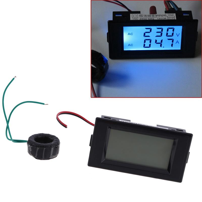 Free Shipping Digital AC 300V 100A LCD Dual Panel Volt Amp Combo Meter +CT 110V 220V 240V E#TN<br><br>Aliexpress