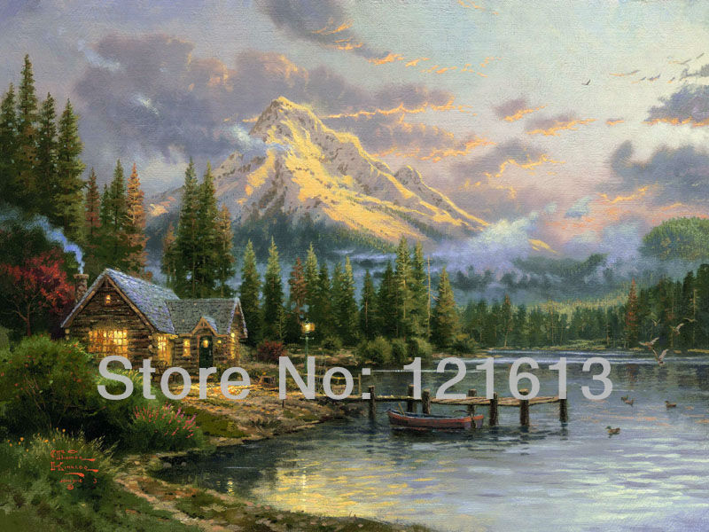 Thomas Kinkade Original landscape oil painting Lakeside Hideaway Art print on canvas seacape painting wall decor home decoration(China (Mainland))