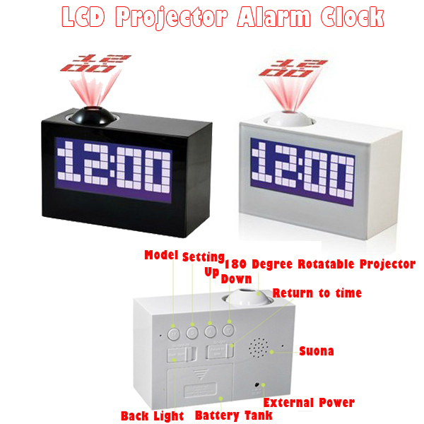 Buy 1PC LCD Projection Alarm Clock With Projector Nigh