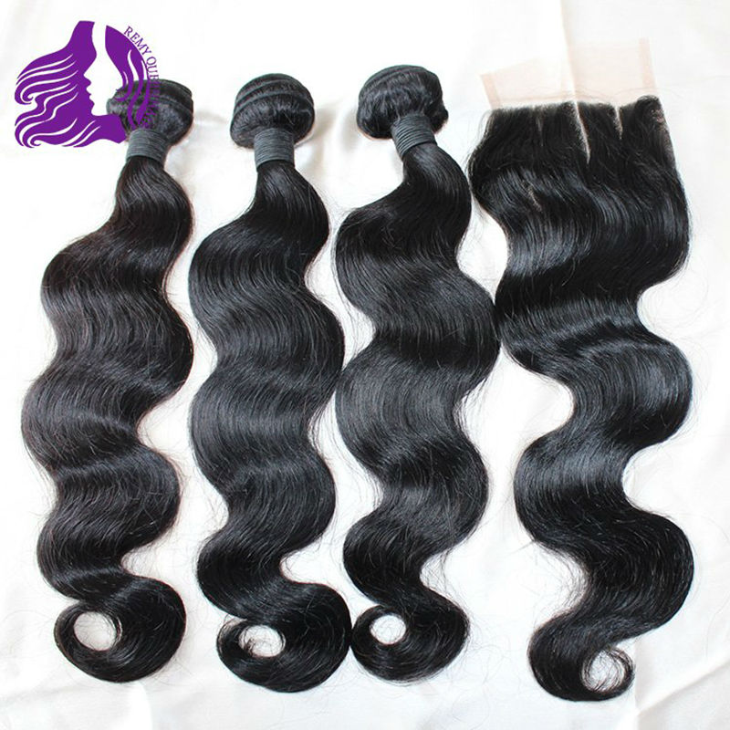 Free Shipping!! 7A Indian Virgin Hair Bundles With Three Part Top Lace Closure 4pcs/lot Human Hair Body Wave Extension<br><br>Aliexpress
