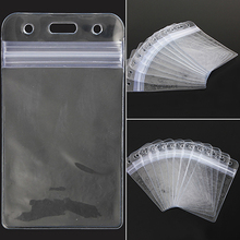 10Pcs Vertical Transparent Vinyl Plastic Clear ID Card Badge Holder with Zipper (China (Mainland))