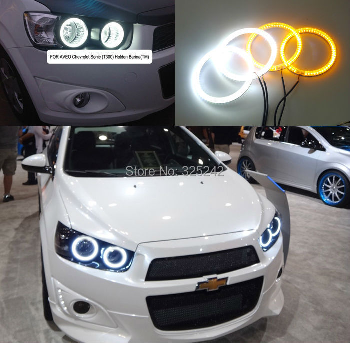 For Chevrolet AVEO Sonic T300 2011 2012 2013 2014 Excellent Ultrabright Dual Color Switchback smd LED Angel Eyes Halo Rings kit(China (Mainland))