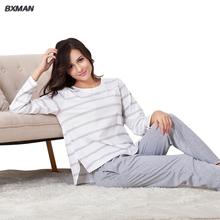 Bxman марка женщины классические Pijamas хомбре хлопок полосатый о-образным вырезом полный рукав пижамы пижаме дома костюм 239(China (Mainland))