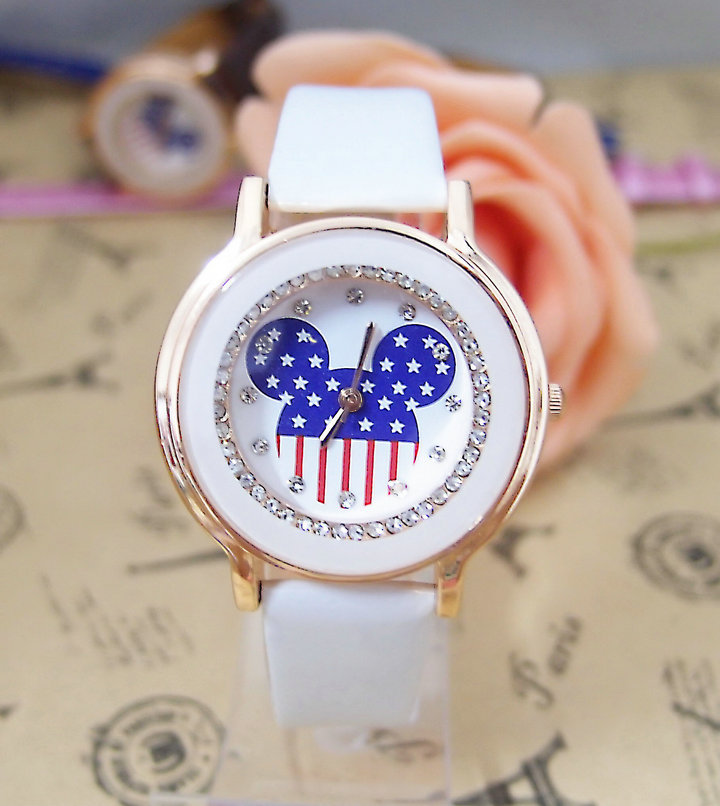 6 colors available Mickey Mouse brand leather quartz watch women fashion crystal wristwatch ladies G9820(China (Mainland))