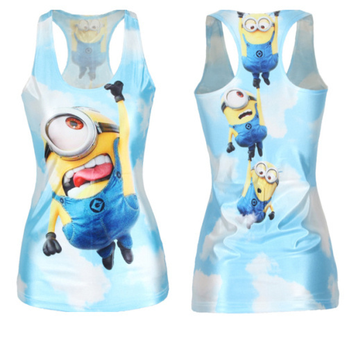 New 2015 Women Tank Despicable Me Print Minions Women t-shirt Stuart Fashion Blue Camisole Female Vest(China (Mainland))