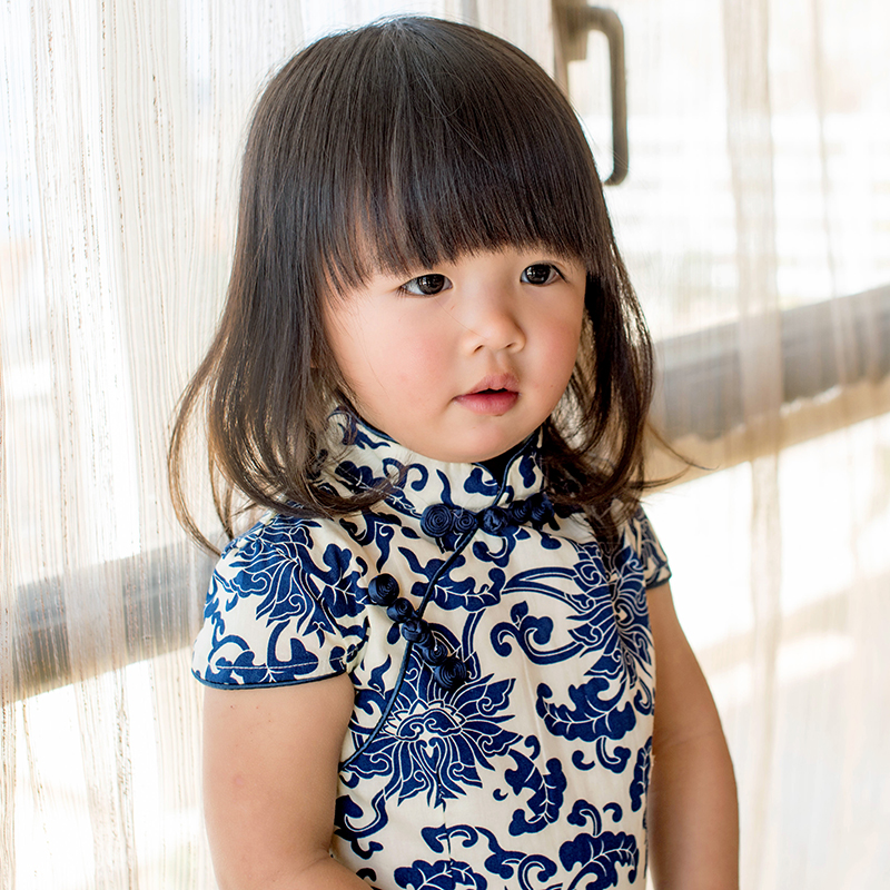Chinese style new 2015 summer blue and white porcelain floral printed kids Cheongsam short sleeve little girl tang suit dress(China (Mainland))