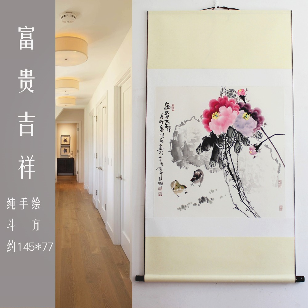 Freeshipping EMS Peony Hand-painted rice paper Chinese watercolor flower art ink murals damask scroll framed painting(China (Mainland))