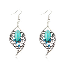 Oval Turquoise Earrings Charm Crystal Leaf Shaped Dangle Earrings for Women Sterling Silver Fine Jewelry Summer Style 2015(China (Mainland))