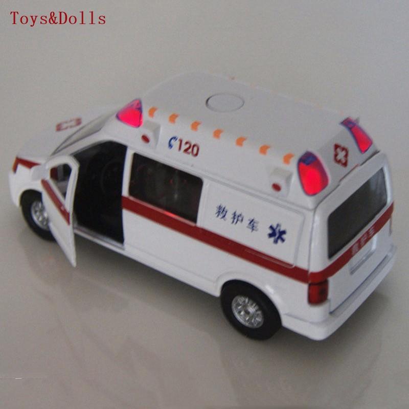 Collectible Alloy Diecast White Automobile Mannequin 1/32 Ambulance Medical automobiles w/mild&sound Pull Again Automobiles Mannequin Youngsters Toys Presents