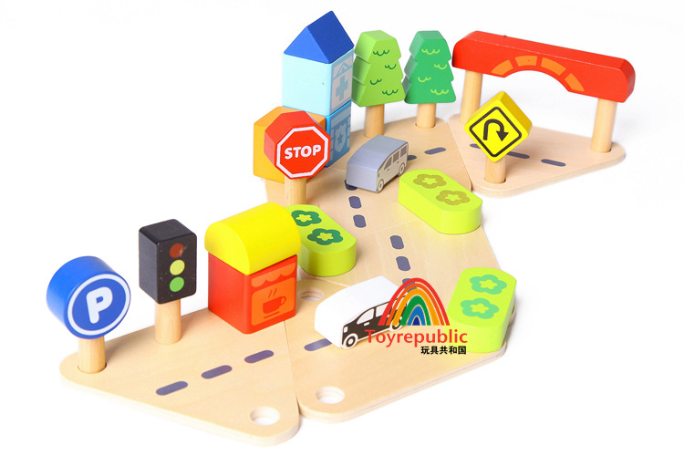 Free delivery,Town&Country playset,foreign trade tail single.building blocks,educational toy,city traffic signs,24 PCS bus road(China (Mainland))