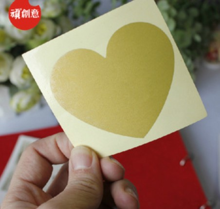 NEW Creative Cute Heart design Scratch coating Sticker/DIY Note sticker/Decoration label/Multifunction/Wholesale/Freeshipping!(China (Mainland))