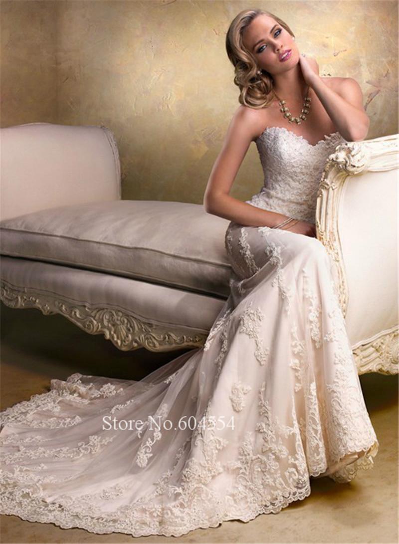 Novo banco De Vestido De Noiva Vestido De Noiva 2016 branco / marfim Applique A linha De Vestido De casamento Robe De Mariage