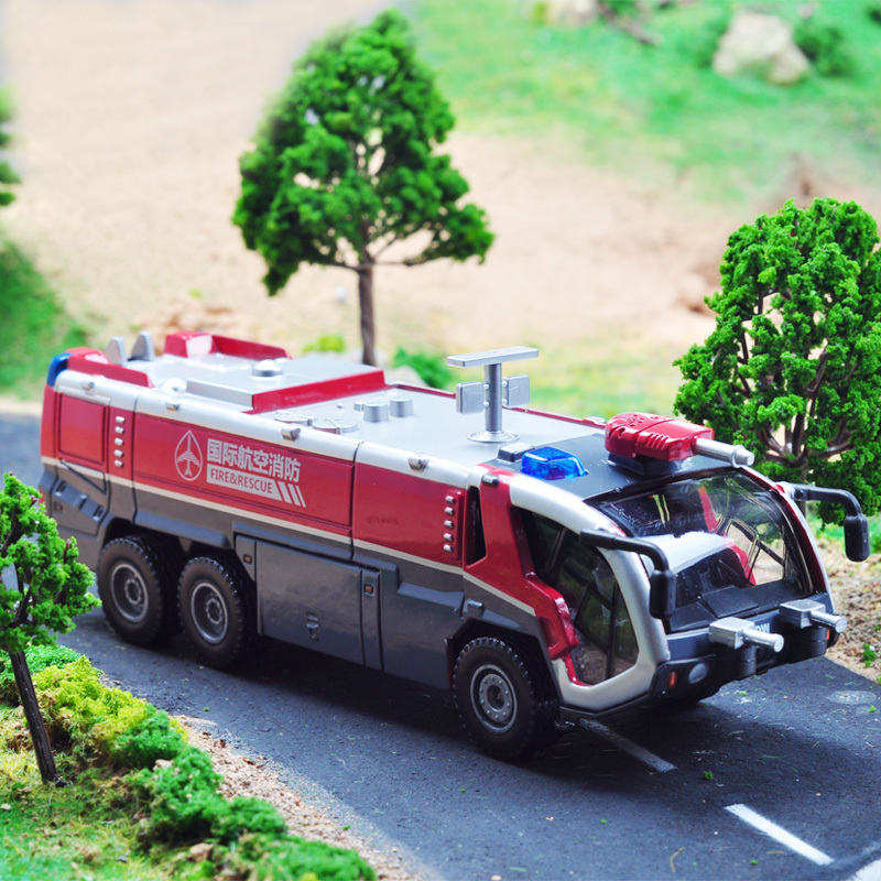 Kaidi Wei 1:50 sound and light alloy car models back to power engineering vehicle rescue firefighting vehicles with water cannon(China (Mainland))