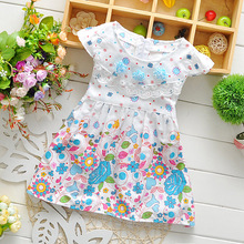 baby girls Summer dress infant printed  Sleeveless baby girls flower dress fashion cute baby dress kids princess dress 3 colors(China (Mainland))