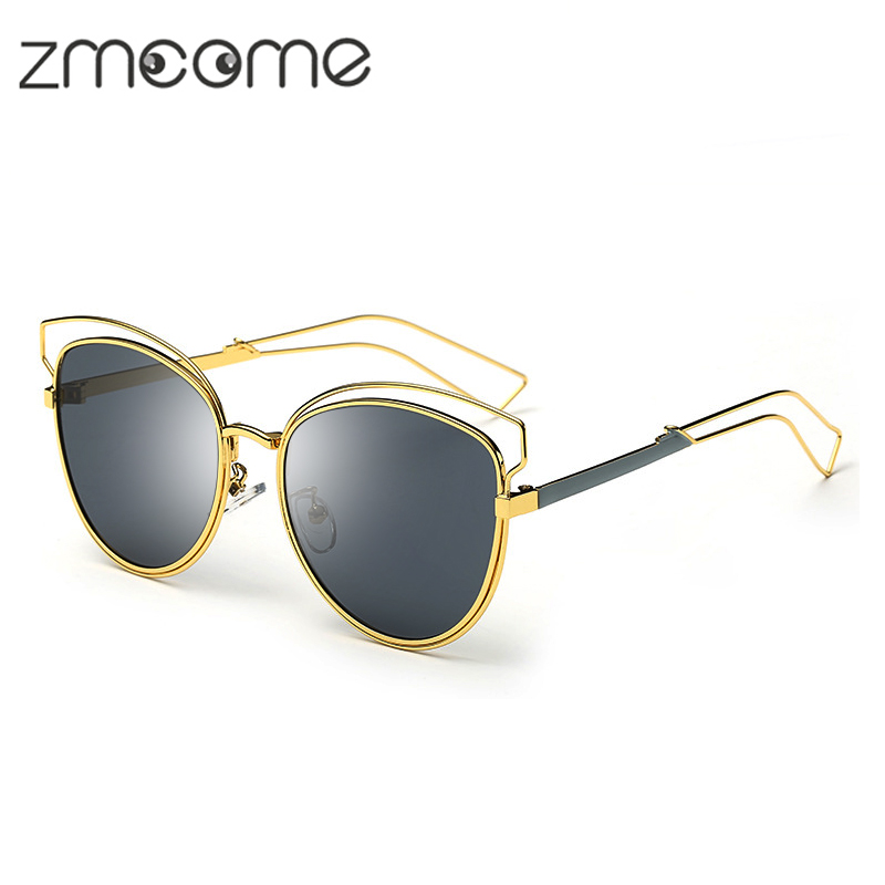 Fashion Sunglasses Women Cat Eye Sun glasses Famous Lady Brand Designer Twin-Beams glasses Coating Mirror Glasses UV400 ZM2217N(China (Mainland))