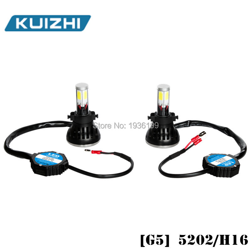 Купить 5202LED авто фар 80 Вт 8000LM 4 COB водонепроницаемый из светодиодов белый шарик для автомобильные фары противотуманные фары с вентилятором играть и зажигания