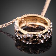 Fashion Korean Lady Black and White Leopard Rhinestone  Necklace Golden T#3T(China (Mainland))