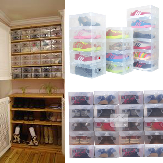 10pcs in 1 High Quality Clear Foldable Plastic Shoe Storage Case Boxes Stackable Organizer Shoe Holder Hot(China (Mainland))