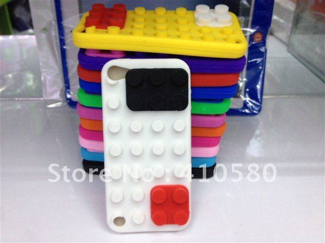 SIlicone case for ipod touch 5, building block soft silicone case for Apple ipod Touch 5 5G, 20pcs/lot(China (Mainland))