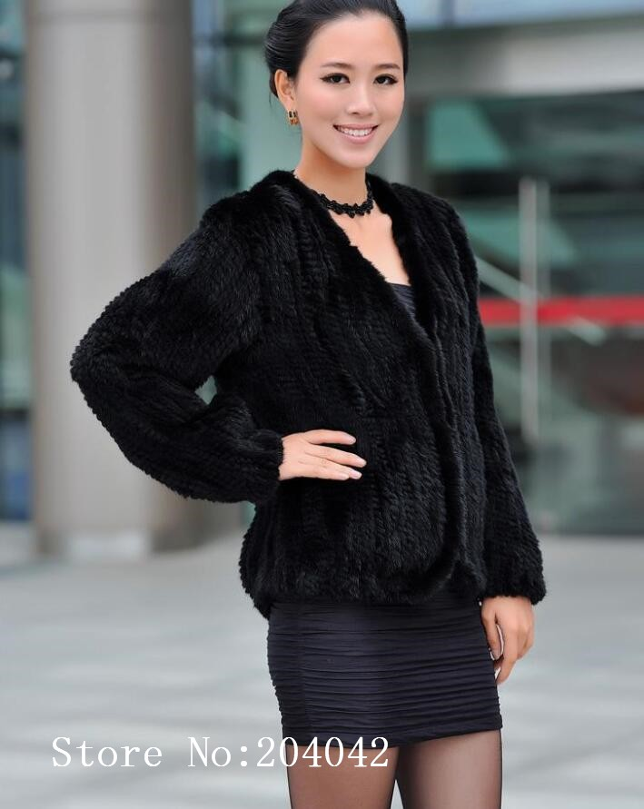 Autumn Winter Women Hand Knitted Natural Real Natural Genuine Mink Fur Coat Jacket Cardigan With Pocket 160514-1