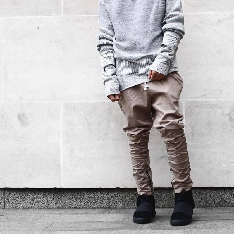 Justin bieber Black/Green/Grey/ khaki side zipper harem pants men jogger mens jumpsuit club wear ...
