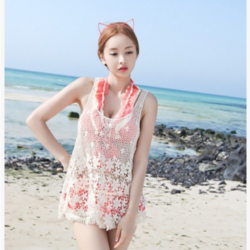 2015 Women Summer Sexy Lace Floral Swimwear Bikini Cover Up Fashion Hollow Knitted Crochet Cotton Beach Bathing Suit Cover Ups(China (Mainland))