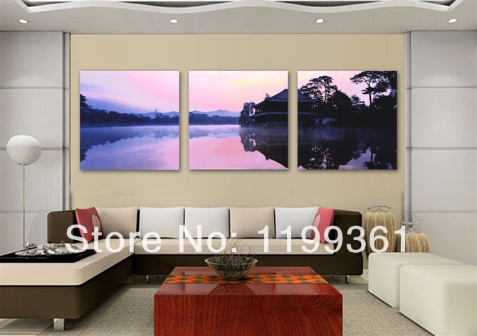 3 Piece Free Shipping Modern Wall Painting Japanese Cottage Natural Scenery Home Decoration Art Picture Paint on Canvas Prints(China (Mainland))