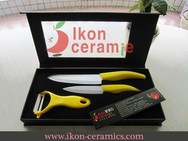 Free Shipping wholesale selling High Quality Zirconia New 100% 3-pieces AJX Ceramic Knife sets(AJ-BT3W-SH-AY)