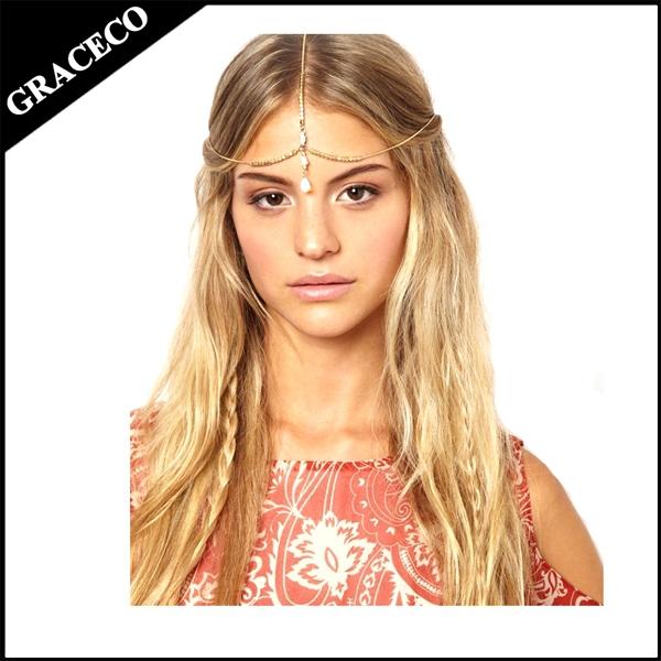 NHA07 Hair decoration hair band head dress headbands metal gold head piece pendent shell women hair jewelry head chains(China (Mainland))