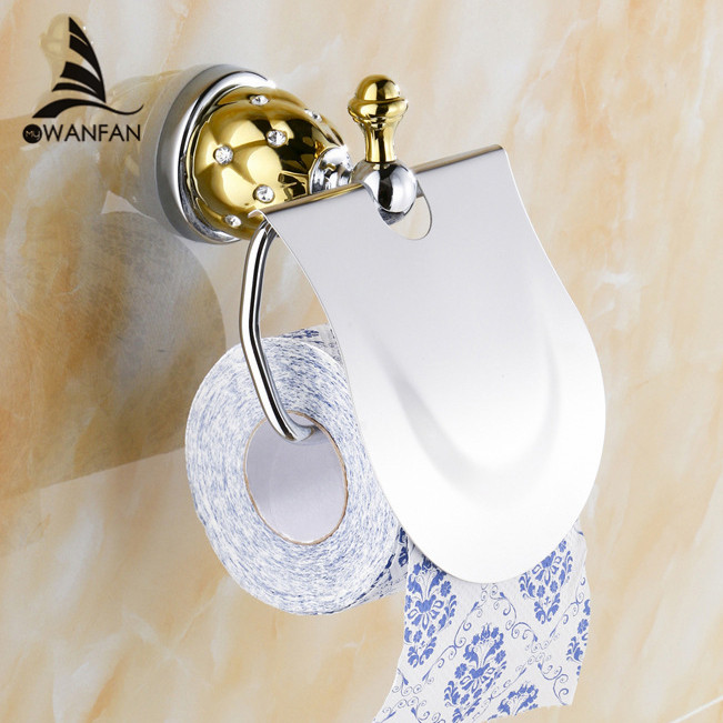 Free Shipping Toilet Paper Holder Roll Holder Tissue Holder Solid Brass Chrom