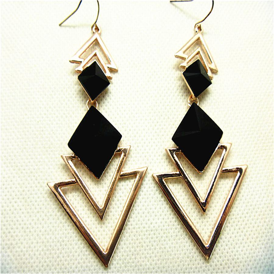 Elegant Earrings  Long Pave Crystal Dangle Black Earrings For Woman