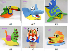 2015 high quality 3D EVA hats animal hats with EVA foam ECO -friendly hats for kids toy and birthday party theme party(China (Mainland))