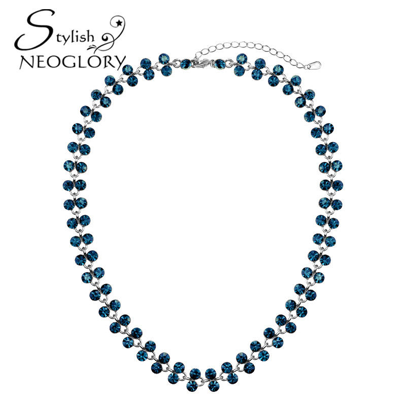 Neoglory Stylish Platinum Plated Choker Necklace Blue Auden Rhinestone Copper Chain Exquisite Vintage Women Jewelry New 2015<br><br>Aliexpress