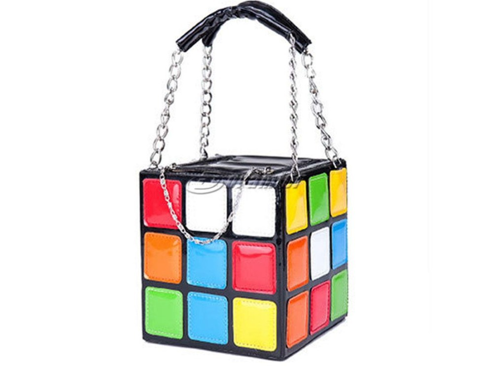 Chic Individual Rubik's Cube Leather Handbag Clutch Shoulder Bag Handbags Wristlets Hobo With Inner Pocket for Women Girls(China (Mainland))